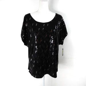 K46 I.N. studio Black Sequin Top Size 2X NWT